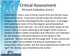 critical assessment personal evaluation cont