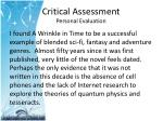critical assessment personal evaluation