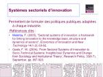 syst mes sectoriels d innovation