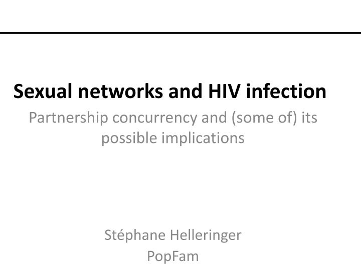 sexual networks and hiv infection n.