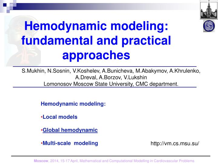 hemodynamic modeling fundamental and practical approaches n.