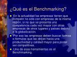 qu es el benchmarking
