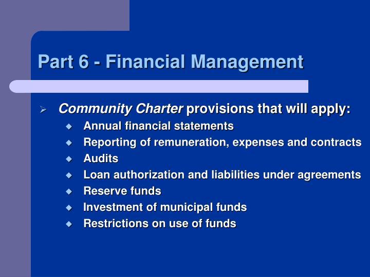 Part 6 - Financial Management