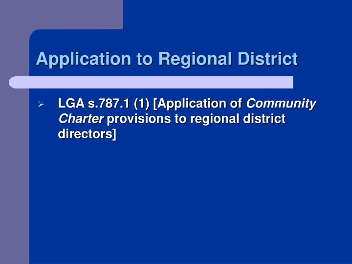 Application to Regional District