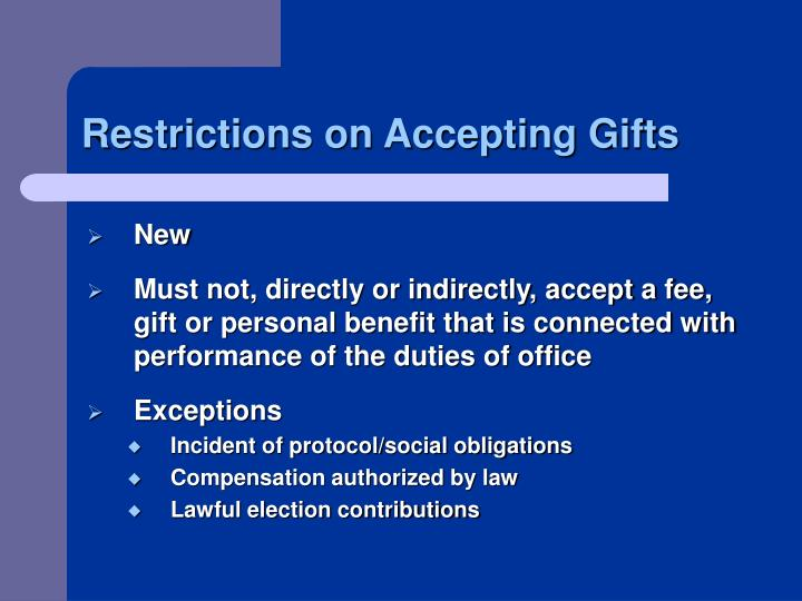 Restrictions on Accepting Gifts