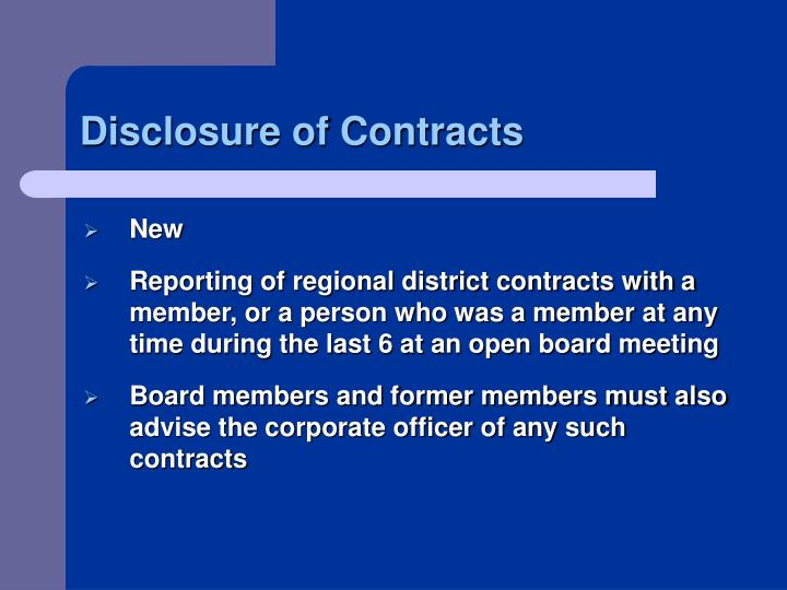 Disclosure of Contracts