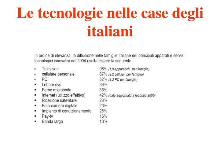 Le tecnologie nelle case degli italiani