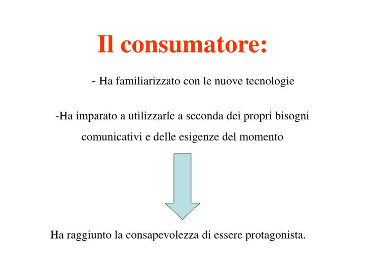 Il consumatore: