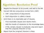 algorithm resolution proof
