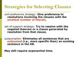 strategies for selecting clauses