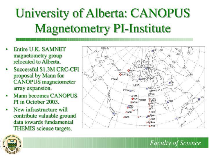 University of Alberta: CANOPUS Magnetometry PI-Institute