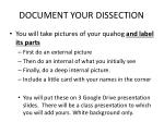document your dissection