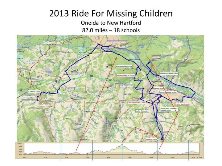 2013 ride for missing children oneida to new hartford 82 0 miles 18 schools n.