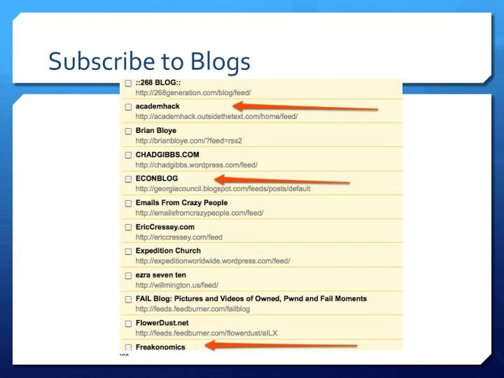 Subscribe to Blogs