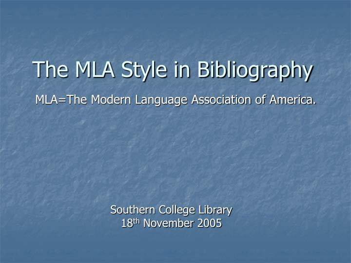 the mla style in bibliography n.