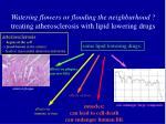 watering flowers or flooding the neighburhood treating atherosclerosis with lipid lowering drugs