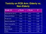 toxicity on pcb arm elderly vs non elderly