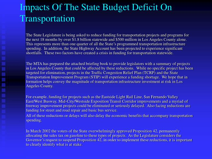 Impacts Of The State Budget Deficit On Transportation