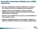 scientific annotation middleware sam objectives