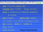 donor parameters bilateral biopsies n 361