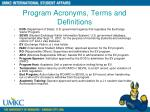program acronyms terms and definitions