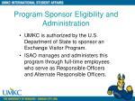 program sponsor eligibility and administration