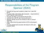 responsibilities of the program sponsor isao