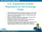 u s department of state regulations for the exchange visitor