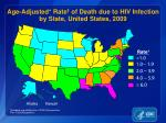 age adjusted rate of death due to hiv infection by state united states 2009