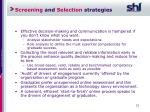screening and selection strategies