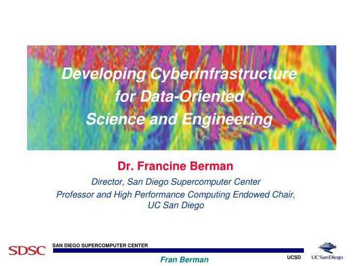 developing cyberinfrastructure for data oriented science and engineering n.
