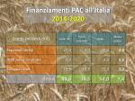 finanziamenti pac all italia 2014 2020