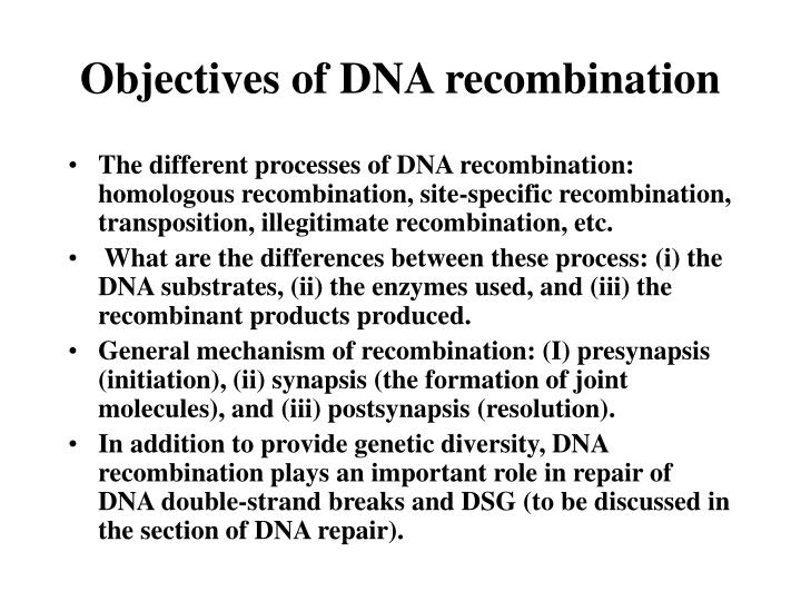 objectives of dna recombination n.