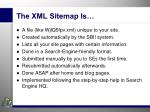 the xml sitemap is