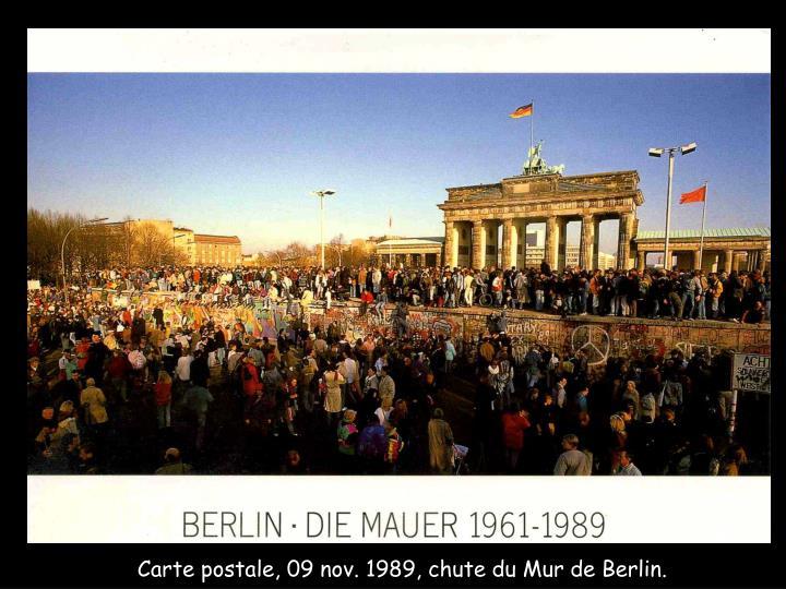 Carte postale, 09 nov. 1989, chute du Mur de Berlin.
