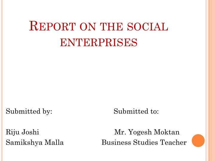 report on the social enterprises n.
