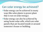 can solar energy be achieved