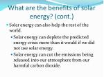 what are the benefits of solar energy cont
