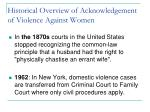 historical overview of acknowledgement of violence against women