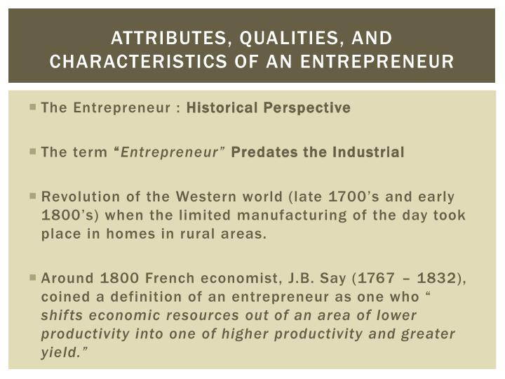 attributes qualities and characteristics of an entrepreneur