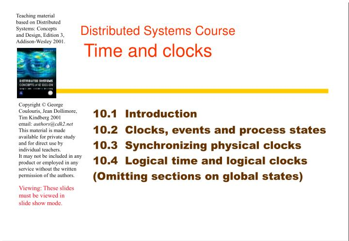 distributed systems course time and clocks n.
