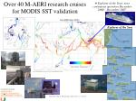 over 40 m aeri research cruises for modis sst validation