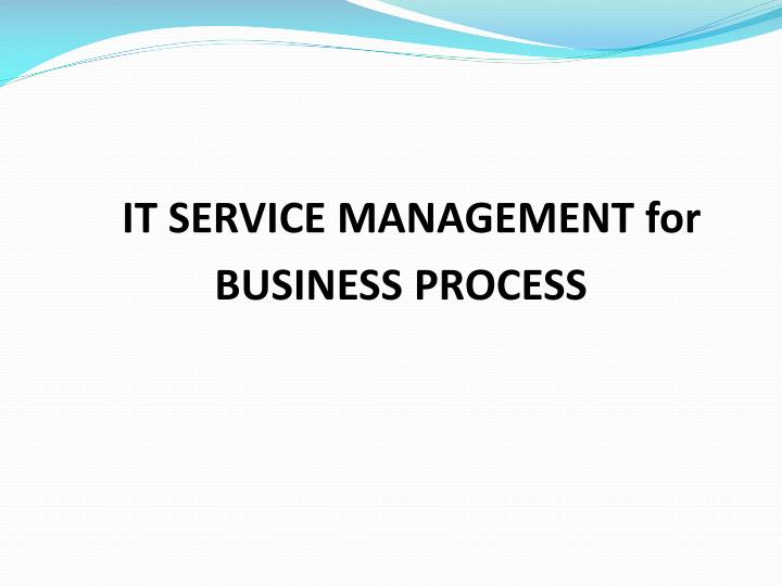 it service management for business process n.