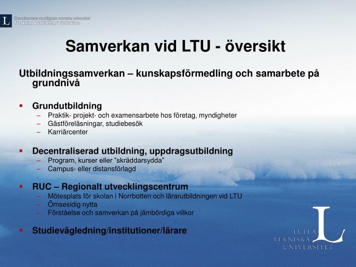 Samverkan vid LTU - översikt