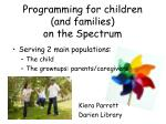 programming for children and families on the spectrum