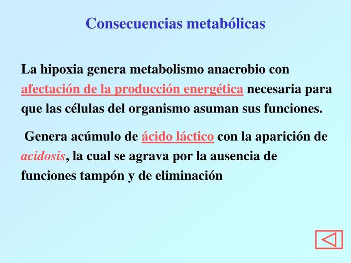 Consecuencias metabólicas