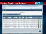 existing enquiry in a browser