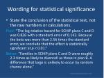 wording for statistical significance