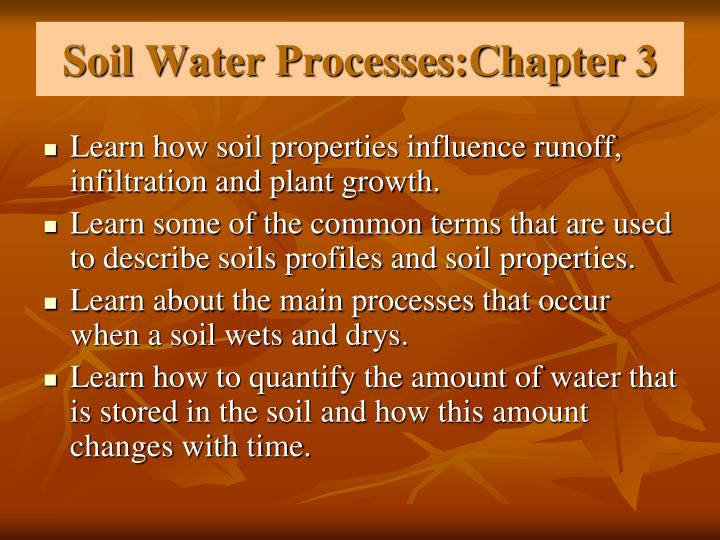 soil water processes chapter 3 n.