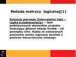 metoda matrycy logicznej 1